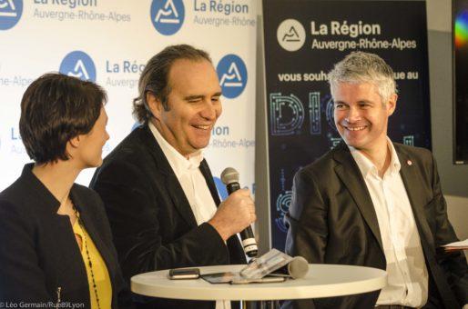 Laurent Wauquiez, Juliette Jarry, vice-présidente de la région en charge du numérique et Xavier Niel, patron de FREE au Digital Summit le 30 janvier 2017 à Lyon. ©Léo Germain/Rue89Lyon
