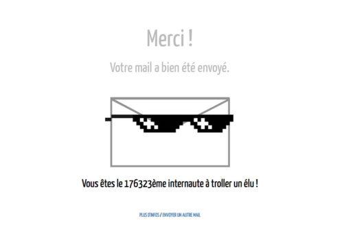 Message d'information après avoir envoyé un mail à un des maires de France. Capture d'écran du site du Parti du vote blanc