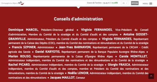 Capture d'écran du site de la Compagnie des Alpes