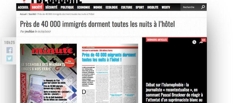 Non, 40 000 migrants ne dorment pas à l'hôtel toutes les nuits en France