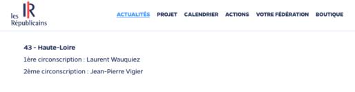 Capture d'écran du site Les Républicains, dimanche 14 mai 2017.