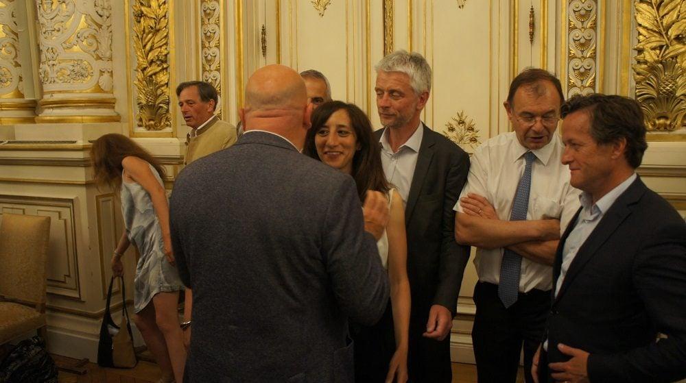 Bruno Bonnell, Anissa Khedher, Thomas Rudigoz, Yves Blein et Hubert Julien-Laferrière au 2ème tour des législatives à la préfecture du Rhône le 18 juin 2017. ©HH/Rue89Lyon