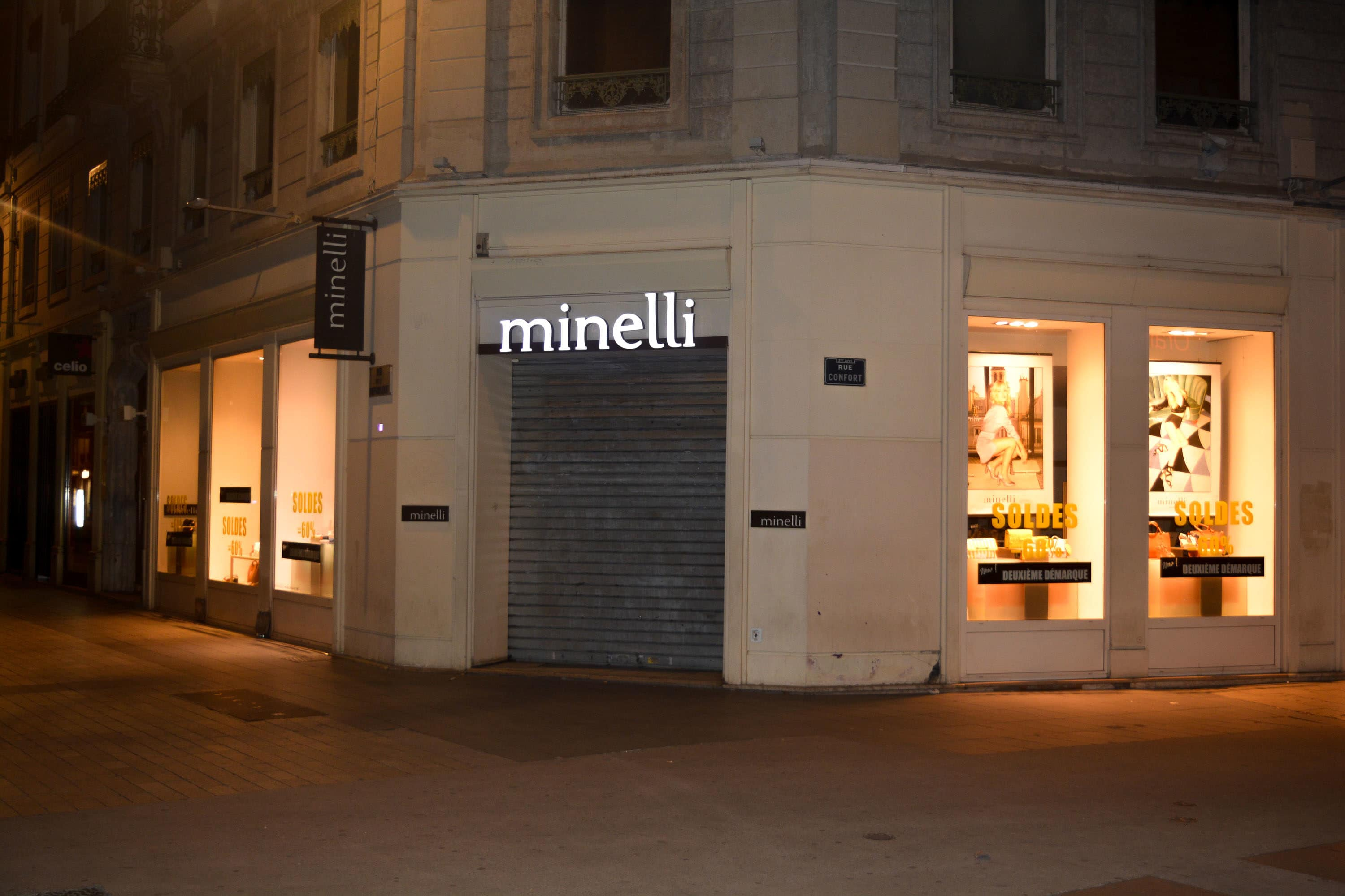 pollution lumineuse - magasin Minelli