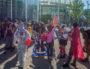 Rassemblement contre l'A45 devant l'Hôtel de Région
