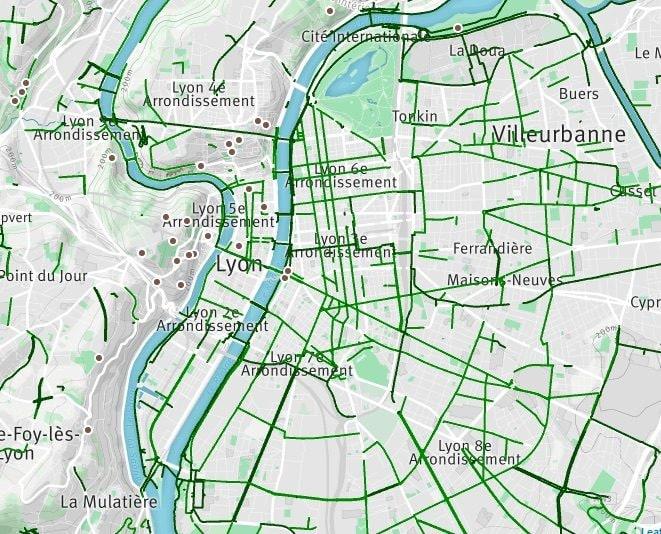 Le réseau cyclable de lyon-villeurbanne site : http://www.geovelo.fr/lyon