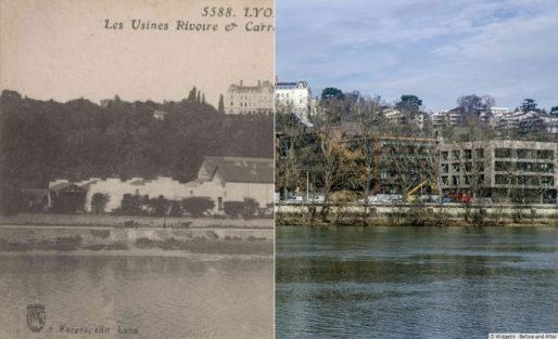 Montage photo avant/après de l'usine Rivoire et Carret dans le quartier de Vaise à Lyon. Rue89Lyon