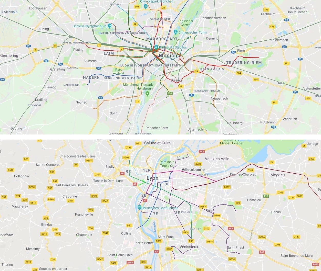 A la même échelle, les réseaux de transports en commun à Munich (métro, tram et RER) et à Lyon (tram + métro uniquement - les trains régionaux n'étant pas intégrés au réseau de transports en commun lyonnais et faisant l'objet d'une tarification distincte). L'agglomération de Munich est comparable à celle de Lyon en terme de population d'après l'INSEE. On voit donc que si le réseau de Lyon-Villeurbanne est performant, il y a une grande marge de progression pour la desserte de la périphérie, à l'est comme à l'ouest.