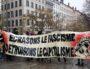 La banderole déployée par les antifas de la Gale, lors du rassemblement du dimanche 17. ©LB/Rue89Lyon