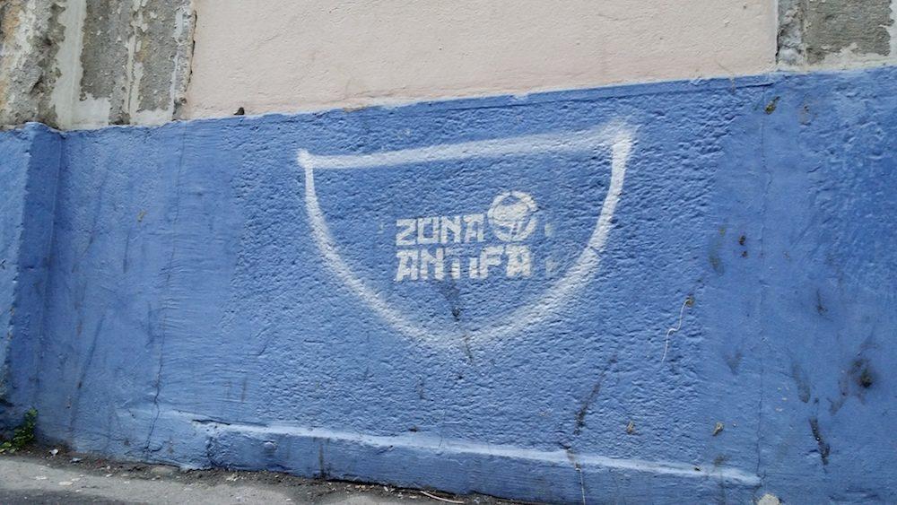 """""""Zona antifa"""" sur un mur du quartier de la Guillotière (Lyon 7ème)."""