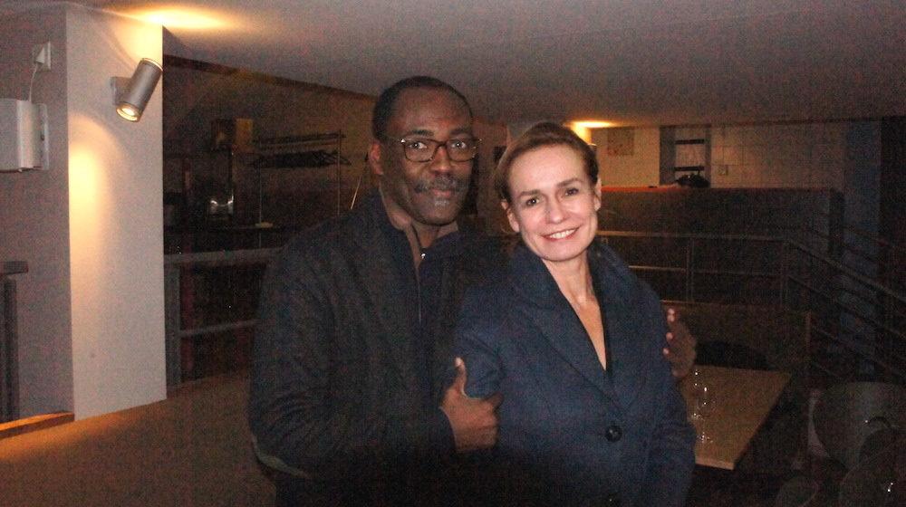 """Le réalisateur d'""""Une saison en France"""", Mahamat-Saleh, Haroun et l'actrice Sandrine. ©LB/Rue89Lyon"""