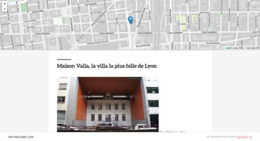 Carte regroupant les lieux insolites du guide anti-Routard de Lyon. Capture