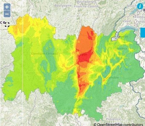 Prévision de pollution aux particules fines pour la journée du 23 février. Capture d'écran Atmo Auvergne-Rhône-Alpes