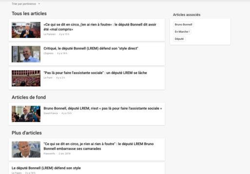 Recherche dans Google Actualités sur Bruno Bonnell. Capture d'écran