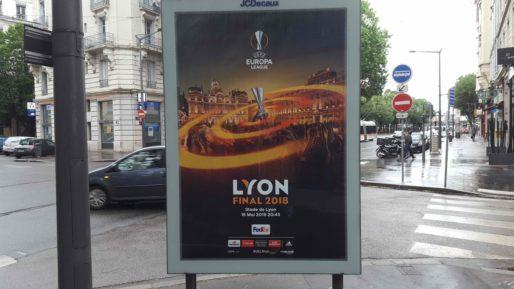 Affiche de la finale de l'Europa League le 16 mai 2018 à Lyon dans les rues de la ville. Photo BE/Rue89Lyon