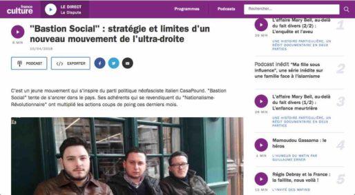 France Culture traite le sujet du Bastion Social et de l'extrême droite à Lyon. Capture d'écran