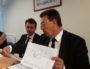 Métropole de Lyon lors d'une conférence de presse le 19 juin 2018. A sa droite, Stéphane Guilland, le président du groupe LR au conseil municipal de Lyon. ©LB/Rue89Lyon