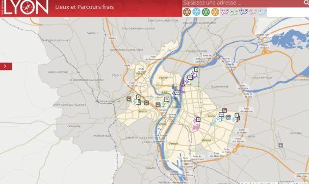 Lyon carte lieux et parcours fraîcheurs-chaleur