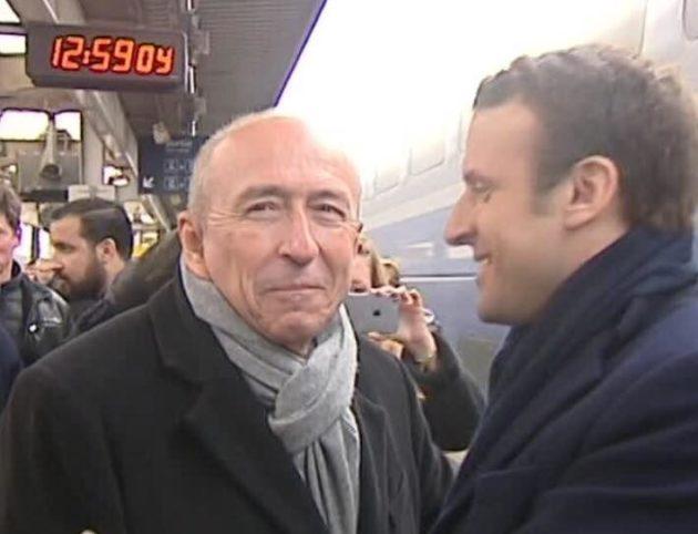 Capture d'écran du reportage de France, avec Alexandre Benalla en arrière-plan d'un cliché avec Gérard Collomb et Emmanuel Macron.