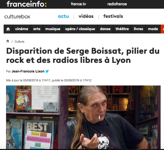 Mort de Sege Boissat, capture d'écran de l'article de France Info.