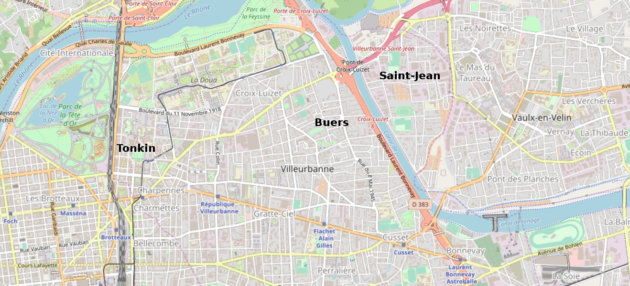 Une carte de Villeurbanne.