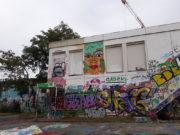 Une des façades du collège Maurice Scève, entièrement couvertes de graffs à la suite d'un événement de street-art organisé il y a un an par le Petit Bulletin. ©LB/Rue89Lyon