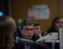 """Une partie des intervenants du débat """"PMA-GPA : question éthique, réponse politique?"""". De gauche à droite, la modératrice Pascale Tournier (de dos), Jean François Guérin, Marianne Durano et Sarah Levine. © Bertrand Gaudillère / Item"""