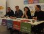Conférence de presse lundi 19 novembre 2018 du Gram et de la France insoumise. De gauche à droite : Yannick Chevalier (président du Gram), Eliott Aubin (LFI), Nathalie Perrin-Gilbert (Gram) et Benoît Schneckenburger (candidat LFI aux européennes). ©LB/Rue89Lyon