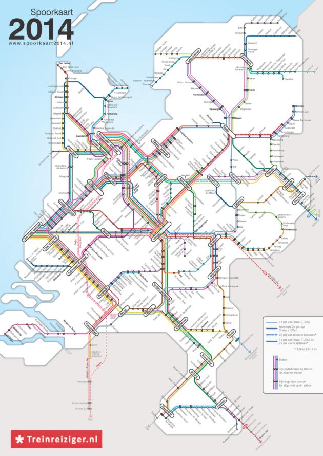 Réseau ferroviaire des Pays-Bas : un réseau équilibré de villes petites et moyennes.