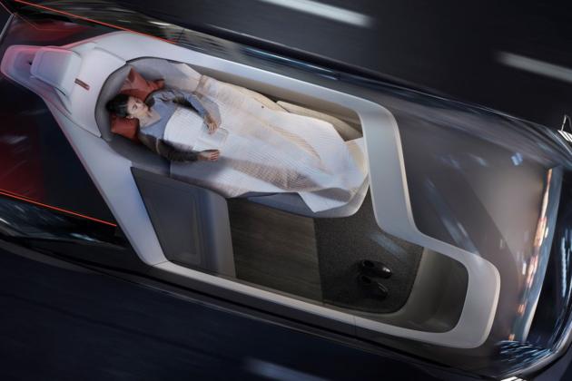 La voiture autonome aménagée en chambre à coucher rend possible une explosion des kilomètres parcourus. Photo : Volvo