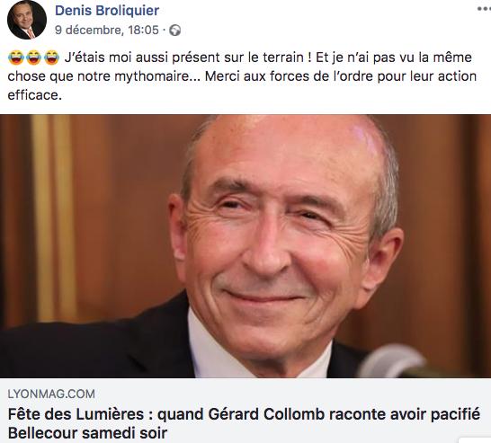 Denis Broliquier se moque de Gérard Collomb. Une #FDL2018 bien pêchue. DR