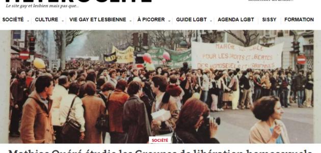 Les Groupes de libération homosexuels, objet d'étude pour Mathias Quéré
