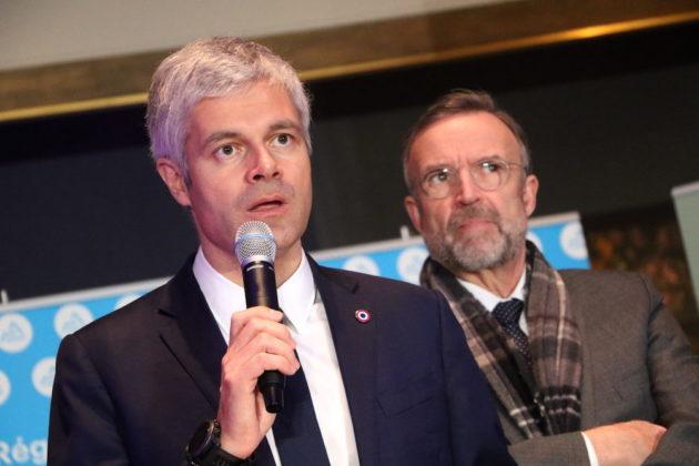 Laurent Wauquiez, président de la région Auvergne- Rhône-Alpes, en compagnie de son vice-président Etienne Blanc, lors de ses voeux 2019. Le 28 janvier 2019 au musée des Tissus et des Arts Décoratifs. ©MG/Rue89Lyon