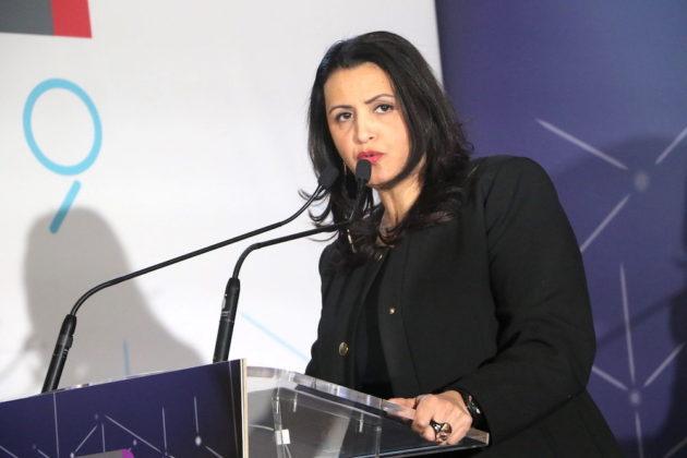 Au voeux du SYTRAL au Grand Hôtel-Dieu, Fouziya Bouzerda Présidente du SYTRAL. Vendredi 25 janvier.©MG/Rue89Lyon