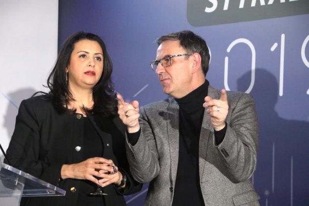 Au voeux du SYTRAL au Grand Hôtel-Dieu, Fouziya Bouzerda Présidente du SYTRAL et David Kimelfeld président de la Métropole de Lyon. Vendredi 25 janvier.©MG/Rue89Lyon