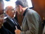 Au voeux du SYTRAL au Grand Hôtel-Dieu, David Kimelfeld président de la Métropole de Lyon croise Gérard Collomb Maire de Lyon . Vendredi 25 janvier.©MG/Rue89Lyon