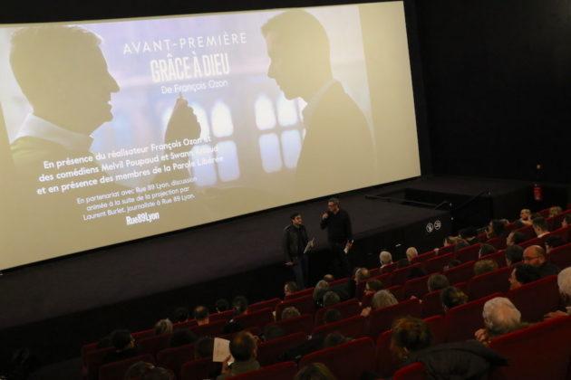 """Avant-première du film """"Grâce à dieu"""" de François Ozon relatant la création de l'association """"la parole libérée"""" et l'affaire du prêtre pédophile le père Preynat. Au cinéma """"Comoedia"""" le 11 février 2019.©MG/Rue89Lyon"""