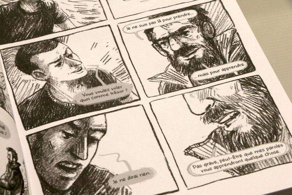 """Extrait du premier dialogue du """"Le Déradicaliseur"""" une bande dessiné de Marc Chinal au scénario et Mathieu Bertrand au dessin. ©MG/Rue89Lyon"""