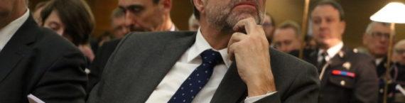 Etienne Blanc lors de la prise de fonction de Nicolas Jacquet, nouveau procureur de la république au cours d'une audience solennelle au tribunal de grande instance de Lyon. Mardi 5 février 2019. ©MG/Rue89Lyon