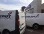 Les camions Cogepart, sous-traitant de Carrefour pour la livraison à domicile, sur le toit du centre commercial Part-Dieu. ©LB/Rue89Lyon