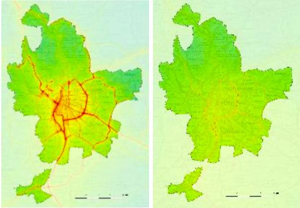 La concentration de dioxyde d'azote (à gauche) et de particules fines (à droite) dans l'agglomération lyonnaise. Capture d'écran d'un visuel tiré du bilan 2018 sur la qualité de l'air réalisé par ATMO Auvergne-Rhône-Alpes.