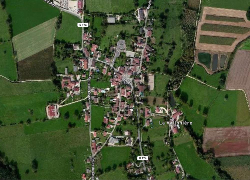 Vue satellite du village de Druillat dans l'Ain. ©Rue89Lyon