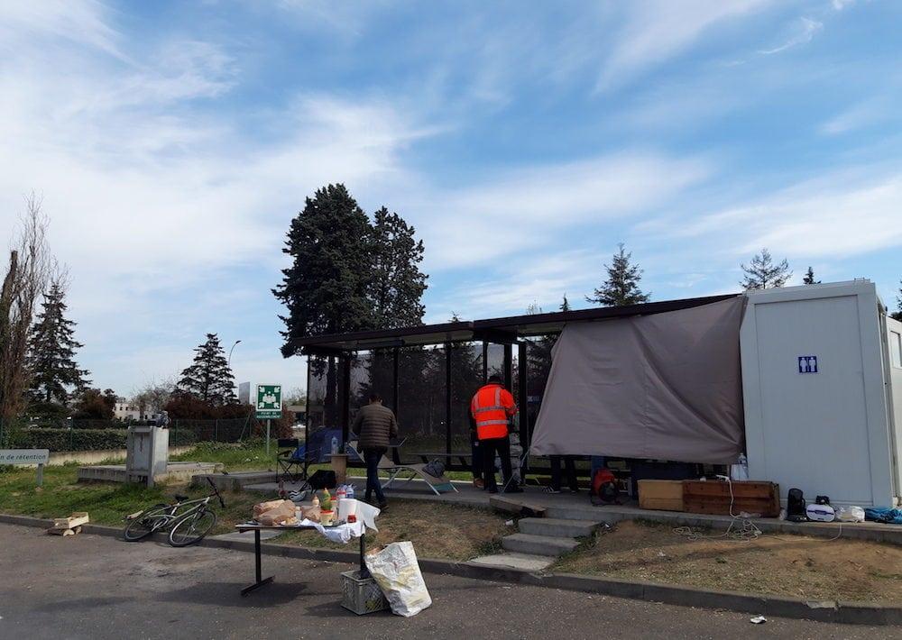 les grévistes ont bloqué 24h/24 l'usine d'incinération de Lyon-Gerland.