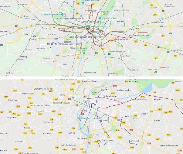 A la même échelle, les réseaux de transports en commun à Munich (métro, tram et RER) et à Lyon (tram + métro uniquement – les trains régionaux n'étant pas intégrés au réseau de transports en commun lyonnais et faisant l'objet d'une tarification distincte).