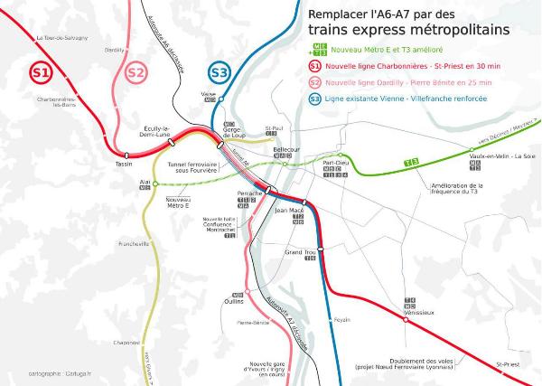 Proposition de trains express métropolitains sur le corridor de l'A6-A7.