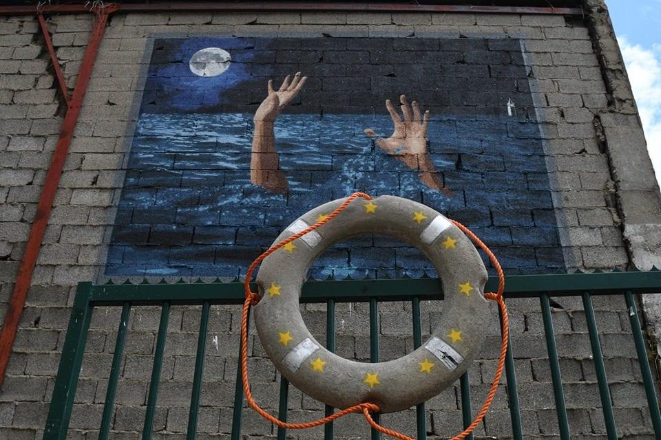 """La fresque 4x3 de Big Ben """"Save our saouls"""" au festival de street art """"Peinture Fraîche"""". ©DR"""