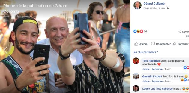 « Coucou c'est nous ». Chemise blanche et jeunesse fêtarde pour Gérard Collomb à Nuits Sonores. Un exemple parmi des dizaines d'autres. Capture d'écran de son Facebook.