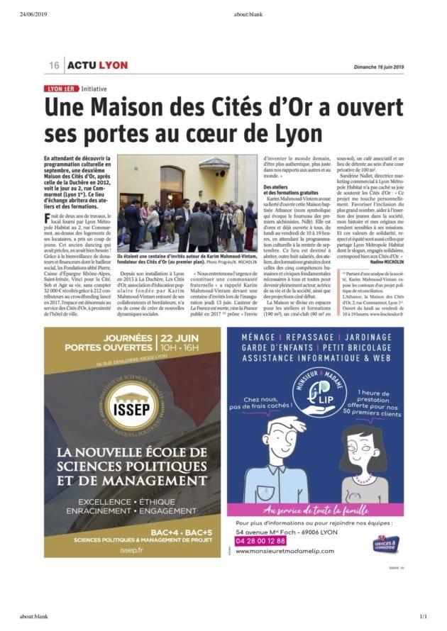 Publicité ISSEP dans le journal Le Progrès
