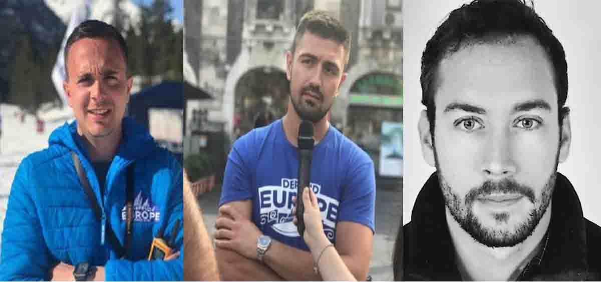 Les trois identitaires condamnés par le tribunal de Gap : Romain Espino, Clément Galant, Damien Rieu (de gauche à droite). Montage à partir des photos de profil Twitter