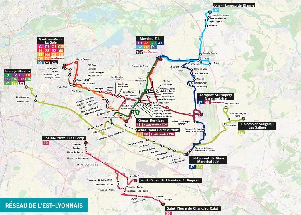 Depuis le 2 septembre, la ligne 47 des TCL permet de relier Meyzieu ZI à l'aéroport Lyon-Saint-Exupéry. Capture d'écran TCL