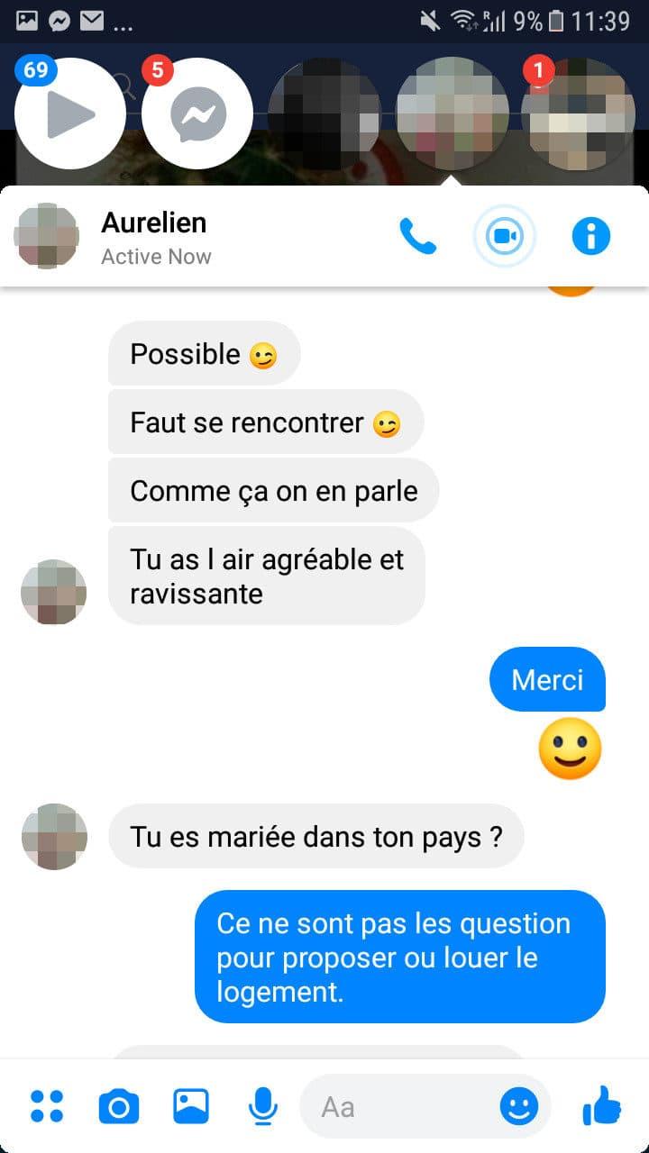 Capture d'écran d'un échange sur Facebook